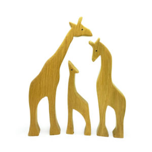 Wooden Giraffe Family